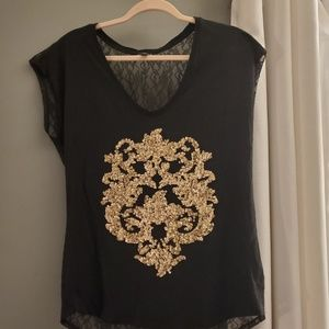 Express~ Black and Gold Lace/ Sequin top